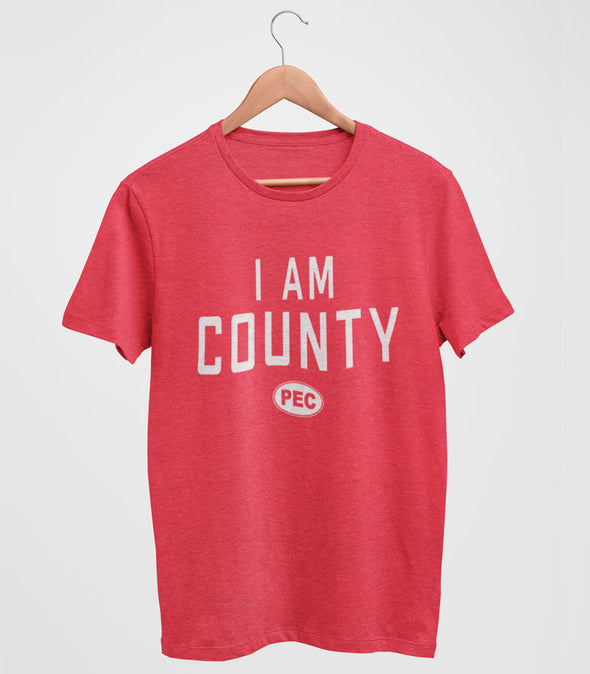 I AM COUNTY PEC Oval Men's Unisex RED Heather Modern Crew T-Shirt • Prince Edward County