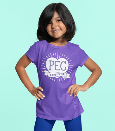 girl wearing PEC forever heart purple t-shirt prince edward county