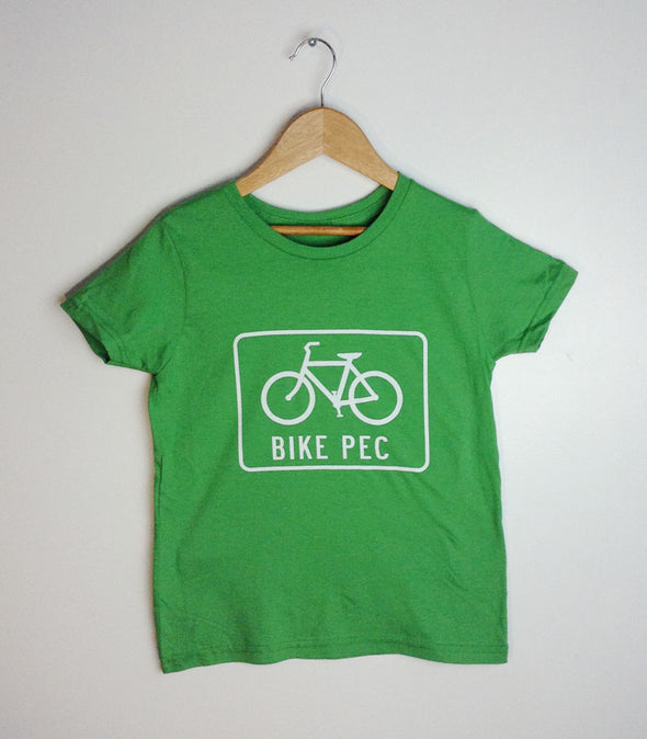 BIKE PEC • Prince Edward County • Kids & Youth GREEN Modern Crew T-Shirt