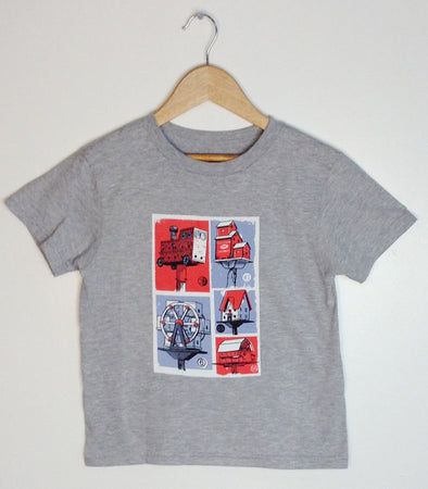 kids athletic heather grey t-shirt with Carl Wiens illustration birdhouse city prince edward county pec ontario canada