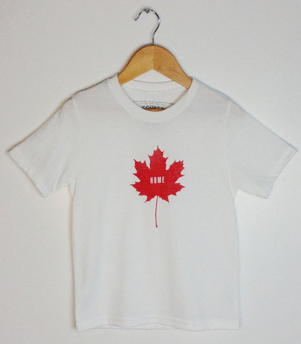 HOME MAPLE LEAF • Prince Edward County PEC • Kid's and Youth White Modern Crew T-Shirt • MADE IN CANADA