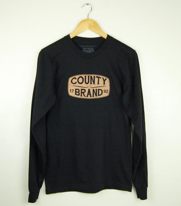 COUNTY BRAND 1792 W/ Texas Orange Faded Ink • Black Modern Long Sleeve Crew • Prince Edward County PEC