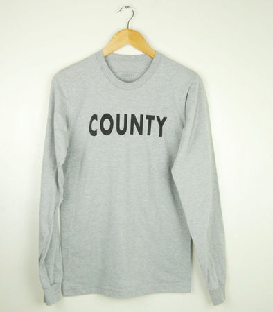 COUNTY PT •  Prince Edward County PEC •  Unisex Athletic Heather Grey Modern Long Sleeve Crew T-Shirt