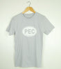 Men's Modern Crew T-Shirt • PEC Prince Edward County Euro Car Oval • White Ink on Silver Grey