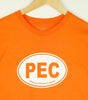 Men's Modern Crew T-Shirt • PEC Prince Edward County Euro Car Oval • White Ink on Orange