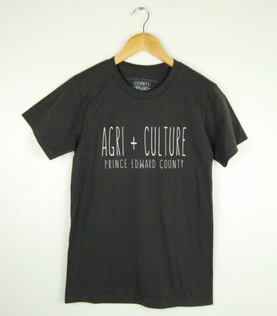 AGRI + CULTURE  • Prince Edward County • White Ink on Tar Modern T-shirt