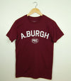 Men's Modern Crew T-Shirt • A.Burgh Ameliasburgh Collegiate Prince Edward County Wards • on Burgundy Red