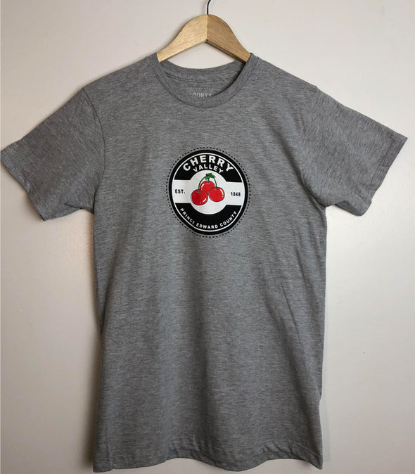 CHERRY VALLEY CANNING LABEL • Prince Edward County PEC • Men's / Unisex Athletic Heather Grey Modern Crew T-shirt