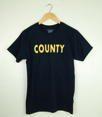 Men's Modern Crew T-Shirt • County PT Prince Edward County • Yellow Ink on Navy Blue