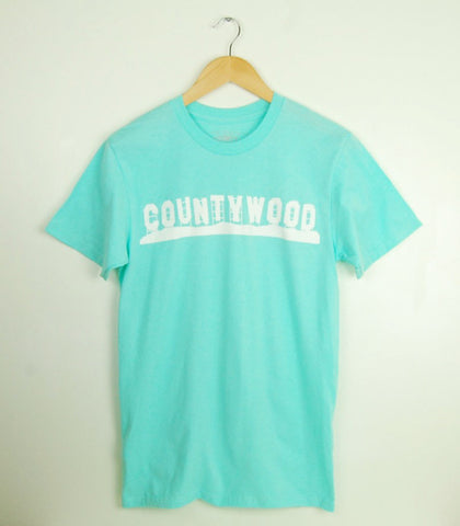 Men's Modern Crew T-Shirt • Countywood Prince Edward County • White Ink on Celedon Blue