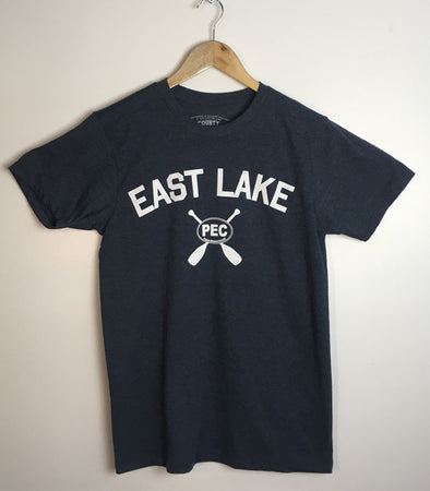 EAST LAKE • Prince Edward County PEC • Navy Blue Heather w/ White Ink Men's Modern Crew T-shirt
