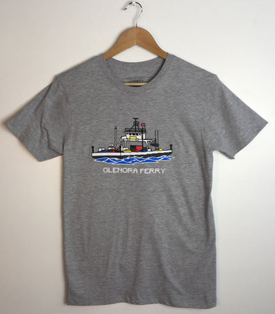 GLENORA FERRY BOAT PEC 8 BIT • Prince Edward County PEC• on Athletic Heather Modern T-shirt