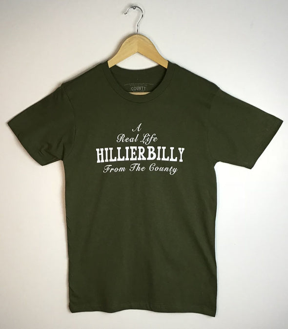Real Life HILLIERBILLY Hillier PEC  • Men's / Unisex MILITARY GREEN Modern Crew T-shirt • Prince Edward County