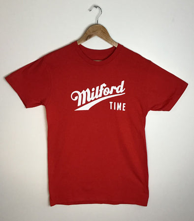MILFORD TIME • Prince Edward County PEC • Men's / Unisex Red Modern Crew T-Shirt