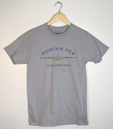 MOUNTAIN VIEW GLIDER • Prince Edward County PEC • Men's / Unisex Silver Modern Crew T-shirt MOUNTAINVIEW