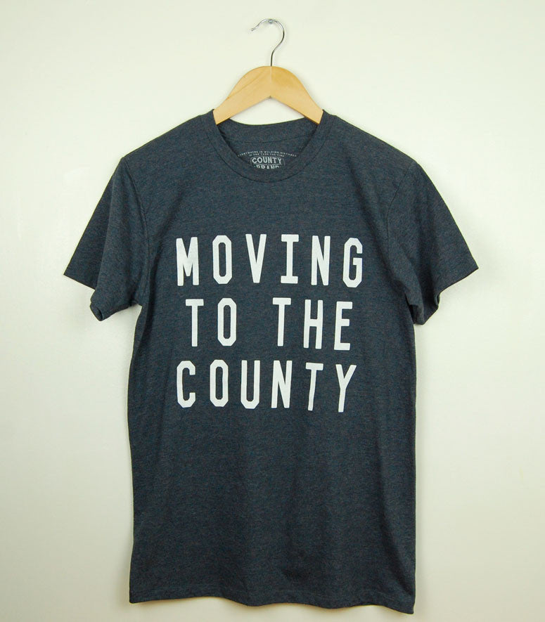 MOVING TO THE COUNTY • Prince Edward County • White Ink on Navy Blue Heather Modern Cut T-shirt