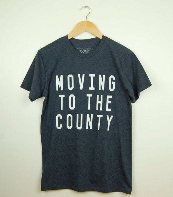 MOVING TO THE COUNTY • Prince Edward County PEC • Men's / Unisex Navy Blue Heather Modern Crew T-shirt