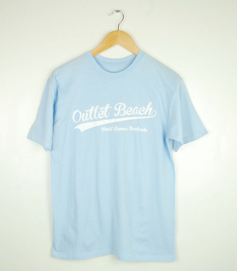 Men's Modern Crew T-Shirt • Sandbanks Outlet Beach Design • White Ink on Powder Blue