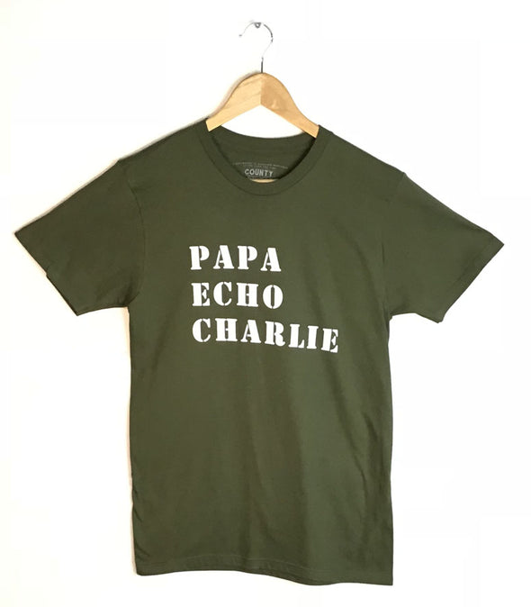 PAPA ECHO CHARLIE PEC RADIO CALL LETTERS • Prince Edward County • Men's / Unisex Military Green Modern Crew T-Shirt