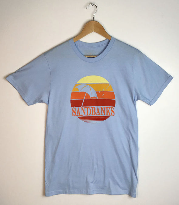 SANDBANKS RETRO CIRCLE • Men's Unisex Modern Crew T-Shirt • Prince Edward County on POWDER BLUE