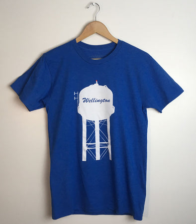 WELLINGTON WATER TOWER • Prince Edward County PEC • Men's / Unisex Royal Blue Heather Modern Crew T-shirt