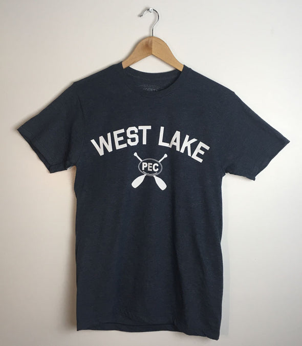 WEST LAKE • Prince Edward County PEC • Navy Blue Heather w/ White Ink Men's Unisex Modern Crew T-Shirt
