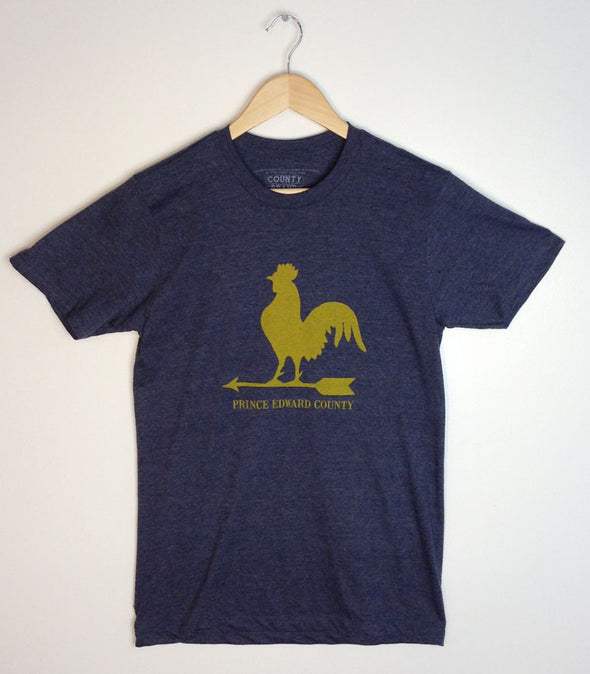 WEATHER VANE ROOSTER • Vintage Yellow ink on Men's Navy Blue Heather Modern Crew T-shirt • Prince Edward County PEC