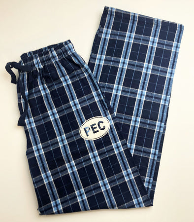 Unisex Flannel Cotton Plaid Pants • PEC Oval • Royal & Navy Blue Plaid • Prince Edward County