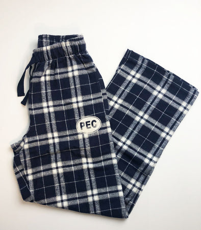 Unisex Flannel Cotton Plaid Pants • PEC Euro Oval • Navy & Silver Plaid