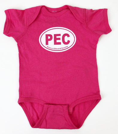 PEC OVAL Baby ONESIE • Prince Edward County • Light Pink • Light Blue • Lavender • Yellow • Athletic Heather Grey • Royal Blue • Hot Pink