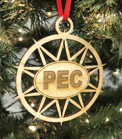 STAR PEC Wood Christmas Holiday Ornament • Prince Edward County Euro Oval