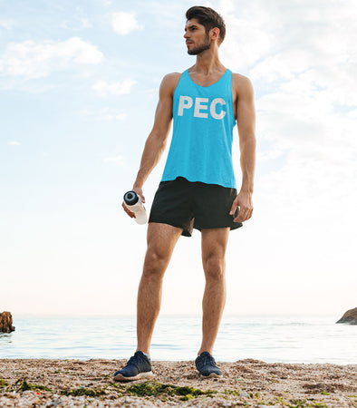 PEC Neon BLUE Summer Basic UNISEX Men's TANK Top T-Shirt • Prince Edward County
