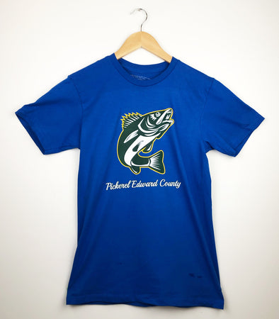 PICKEREL EDWARD COUNTY Walleye FISH Fishing PEC Men's / Unisex Royal Blue  Modern Crew T-Shirt • Prince Edward County
