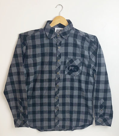 UNISEX MEN'S Flannel Cotton Plaid SHIRT • PEC Euro Oval • Charcoal & Black Buffalo Plaid • Prince Edward County