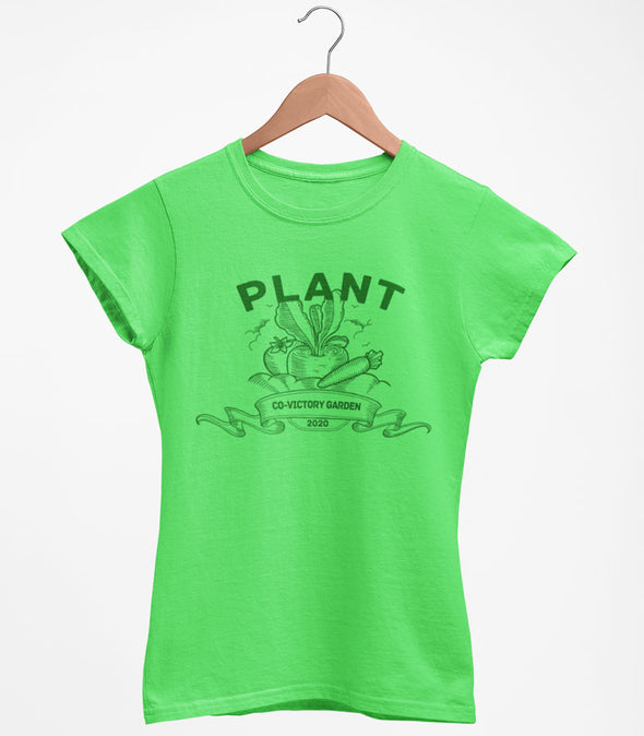 PLANT CO-VICTORY GARDEN 2020 Stay at HOME Women's Grass GREEN Crew T-Shirt COVID19