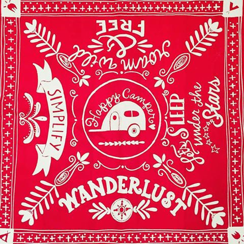 Bandana • Happy Camper Roam Wild & Free Simplify Sleep Under the Stars Wanderlust • Red Cotton