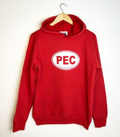 PEC Oval Hoodie on RED Unisex Prince Edward County