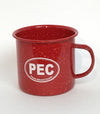 PEC Oval ENAMEL CAMP MUG • RED or BLUE • Prince Edward County