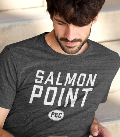 PRE-SALE!  SALMON POINT PEC Oval Men's Unisex CHARCOAL Heather Modern Crew T-Shirt • Prince Edward County