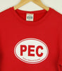 Unisex • Fleece Crew Sweatshirt PEC Prince Edward County Euro Car Oval • on Red