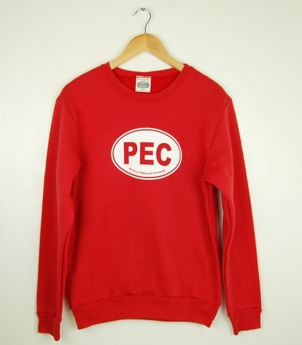 PEC Oval UNISEX Crew Sweatshirt Sweater on RED • Prince Edward County