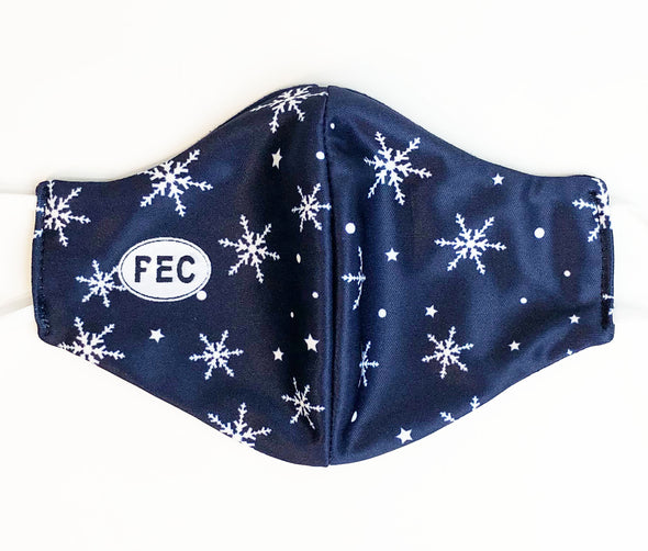 MASKS • SNOWFLAKE WINTER HOLIDAY NAVY BLUE DESIGN w/ PEC Oval MADE IN CANADA • PRINCE EDWARD CANADA