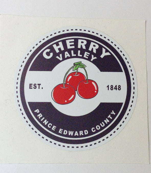 CHERRY VALLEY Canning Label Design Vinyl Weatherproof STICKER • Prince Edward County PEC