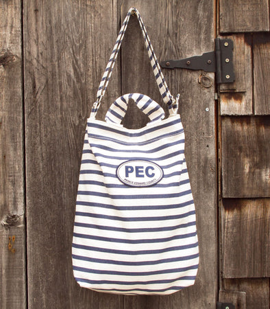 BAGGU COUNTY TOTE BAG • Navy Blue Stripe Canvas with PEC Prince Edward County Oval Patch