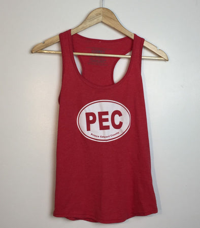 PEC OVAL • Prince Edward County • Women's Red Heather Modern Racer Tri-blend Tank Top
