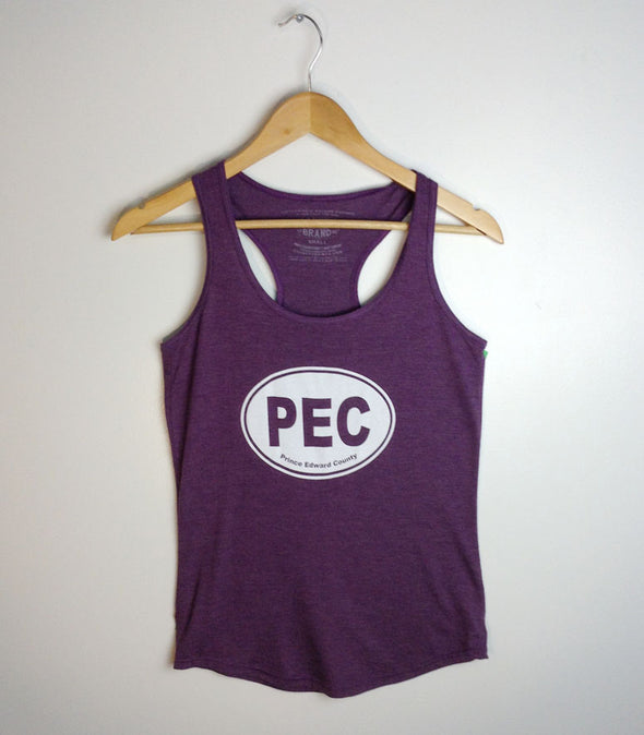 PEC Oval • Purple Heather Women's Racerback Tank • Prince Edward County