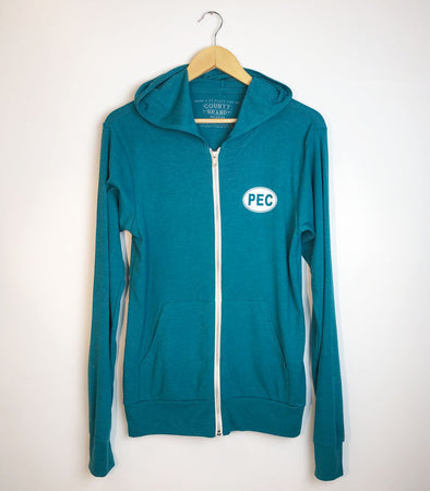 PEC FULL ZIP LIGHTWEIGHT HOODIE • TEAL Unisex Premium Tri-blend • Prince Edward County
