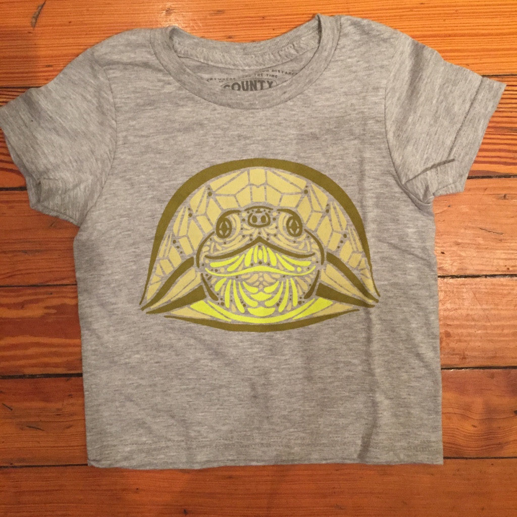 Kids & Youth Modern Crew T-Shirt • Blanding's Turtle Prince Edward County • on Athletic Heather Grey