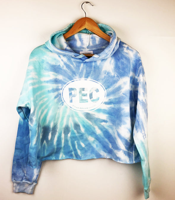 Women's PEC OVAL CROPPED CROP HOODIE TIE DYE BLUE LAGOON • Prince Edward County