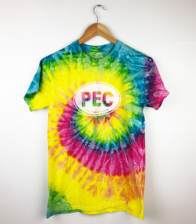 PEC Oval RAINBOW TIE DYE Unisex Men's Crew T-Shirt • Prince Edward County
